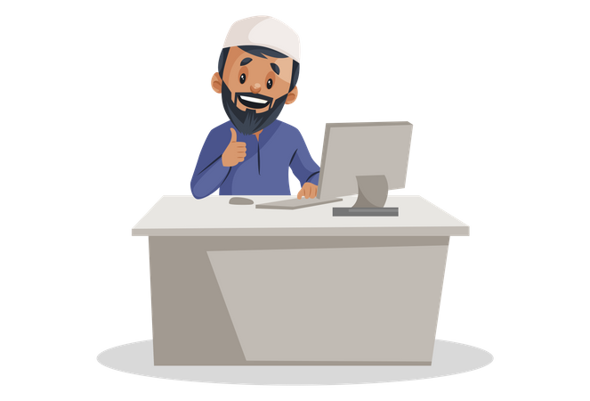 Indian Muslim man working on the computer Illustration