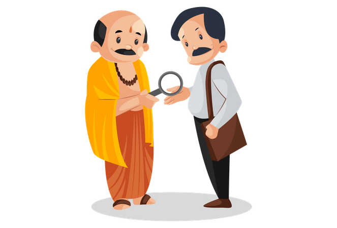 Indian pandit is seeing the palm of man with magnifying glass Illustration