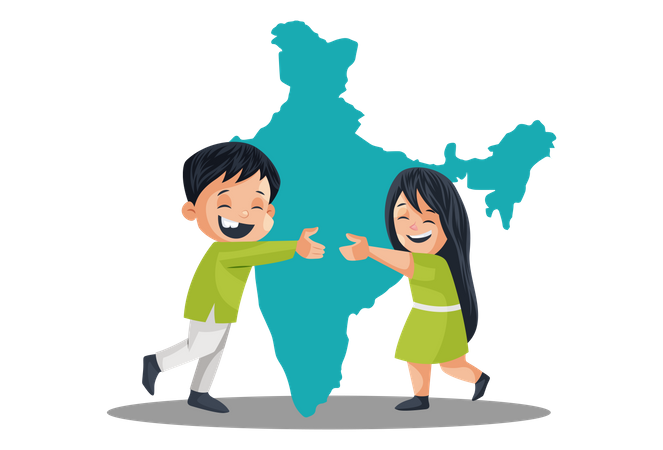 Indian People Celebrating Independence Day Indian map in background Illustration