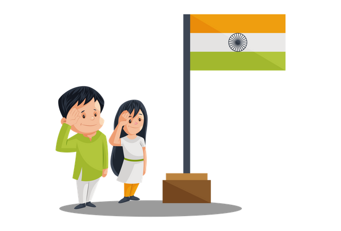 Indian People Saluting to Indian Flag Post on Independence Day Illustration