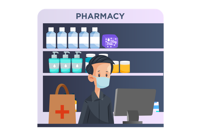 Indian Pharmacist Illustration