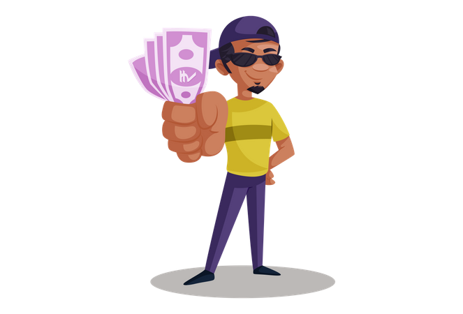 Indian Photographer holding Indian currency notes Illustration