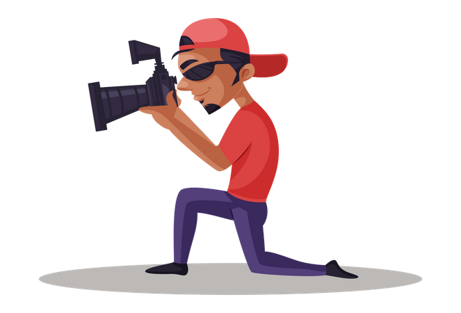 Indian Photographer shooting in camera Illustration