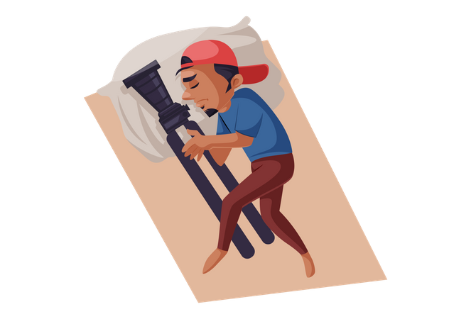 Indian Photographer sleeping with camera and tripod Illustration