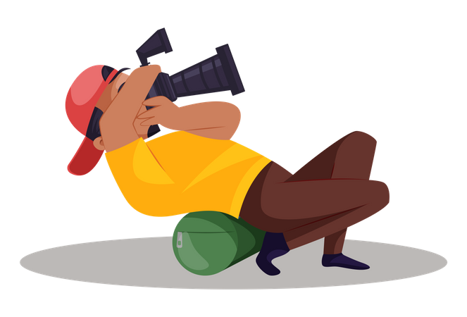 Indian Photographer taking photo in unique style Illustration