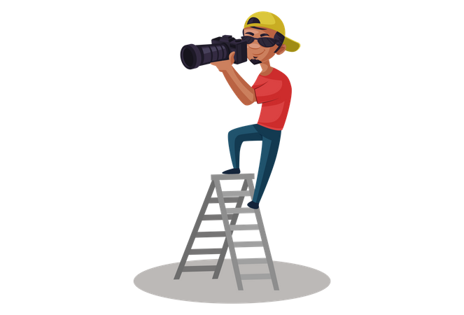 Indian Photographer taking photo on ladder Illustration