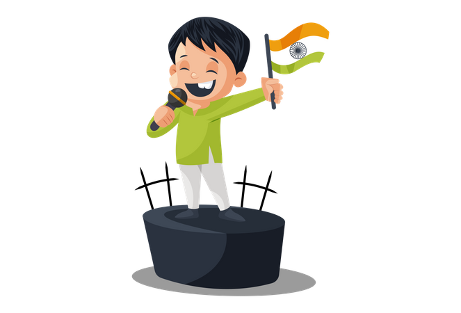 Indian Politician Giving Speech on Independence Day Illustration