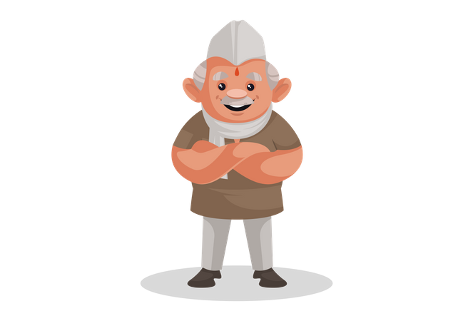 Indian Politician standing with crossed hands Illustration