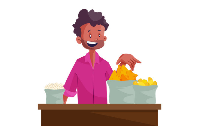 Indian popcorn and snacks vendor Illustration