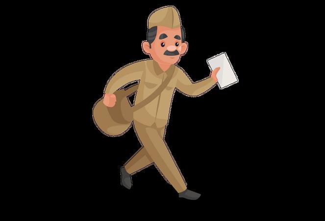 Indian postman going to deliver postcard Illustration