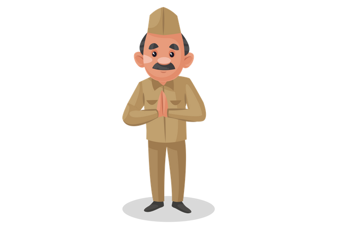 Indian postman standing in welcome pose Illustration