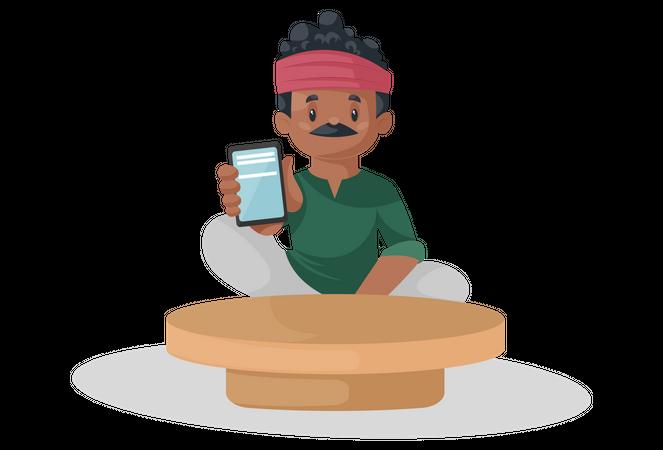 Indian potter is showing mobile phone Illustration