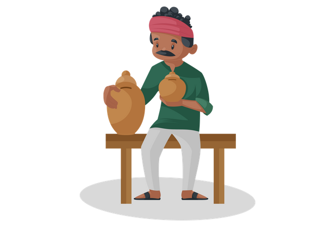 Indian potter is sitting and holding Gullak in hand Illustration