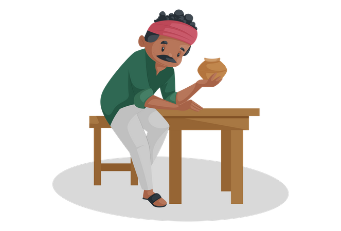 Indian potter is sitting on a table and holding an earthen pot in his hand Illustration