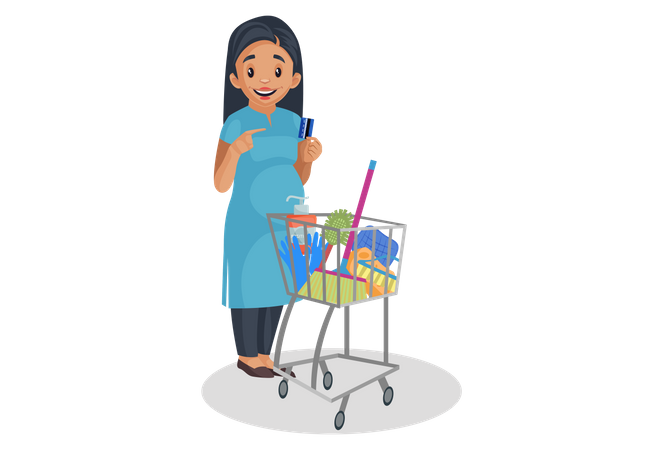 Indian pregnant woman doing shopping Illustration