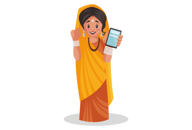 Indian priestess showing a mobile phone Illustration