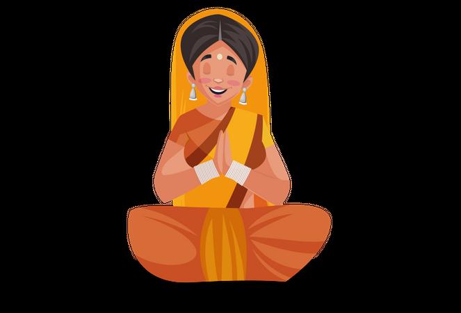 Indian priestess sitting and doing meditation or Praying Illustration