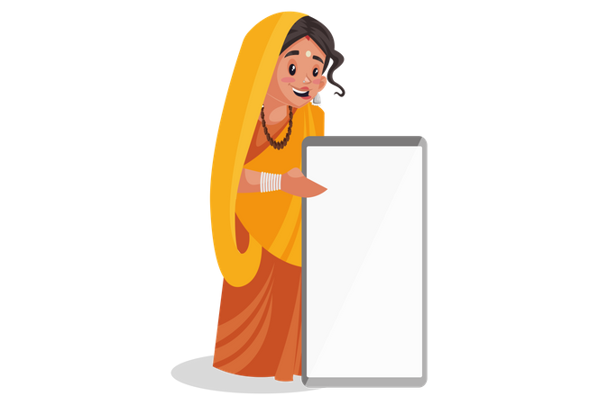 Indian priestess with whiteboard in hands Illustration