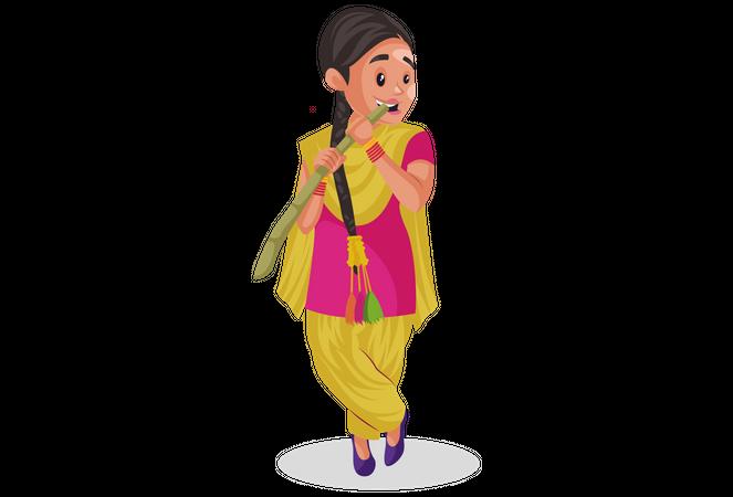 Indian punjabi woman eating Sugarcane Illustration