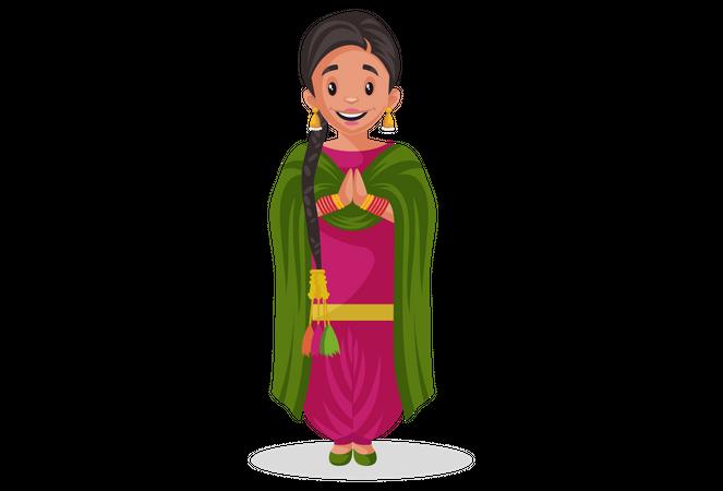 Indian punjabi woman standing in welcome pose Illustration
