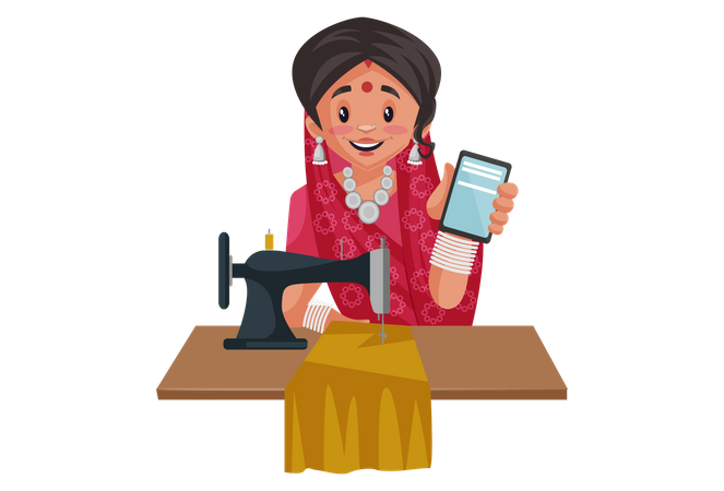 Indian rajasthani woman holding mobile and working on sewing machine Illustration