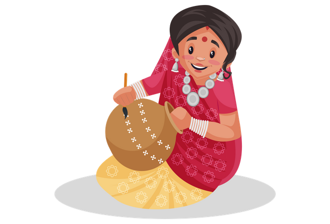 Indian rajasthani woman painting clay pot Illustration