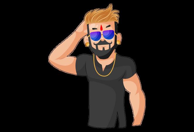 Indian Rajput man wearing sunglasses Illustration