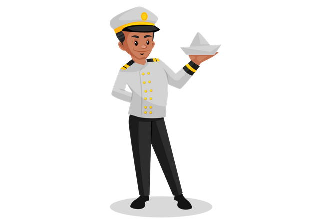 Indian sailor holding paper boat in his hand Illustration