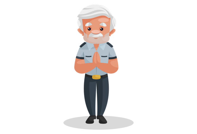 Indian security guard standing in welcome pose Illustration