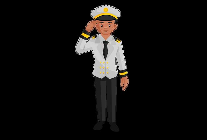 Indian ship captain doing salute Illustration
