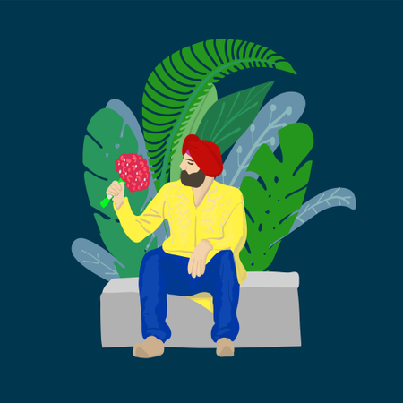 Indian sikh man in turban sitting in park with flowers Illustration