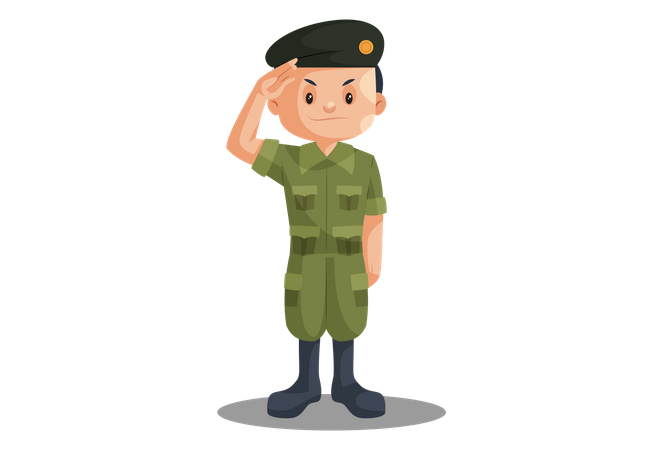 Indian Soldier Saluting on Independence Day Illustration