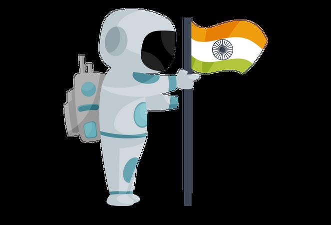 Indian space pilot placing Indian flag Illustration