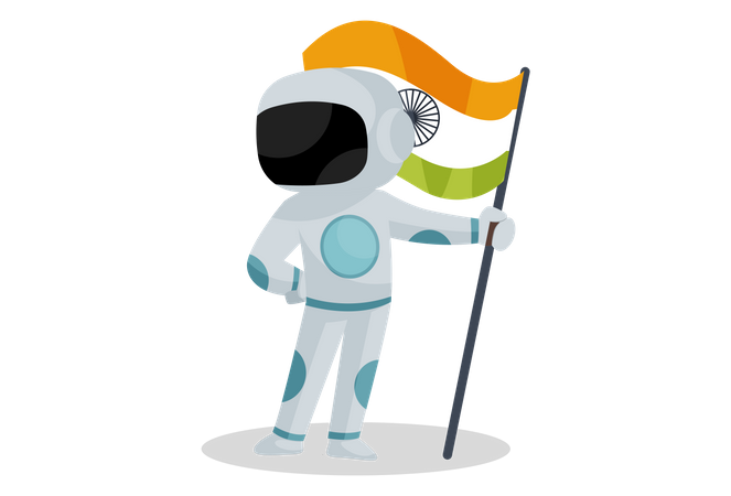 Indian spaceman holding Indian flag Illustration