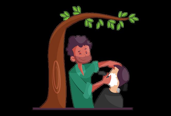 Indian Street Barber Illustration