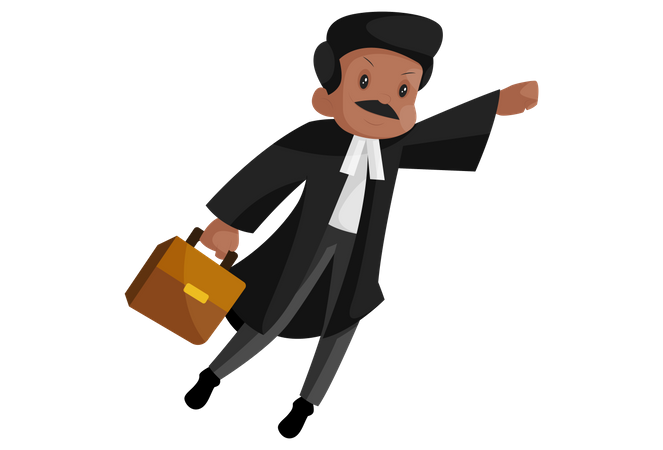 Indian super lawyer is flying with briefcase Illustration