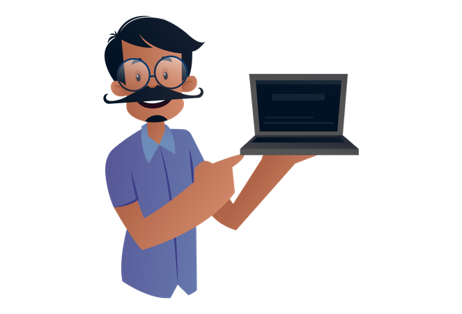 Indian Tailor holding a laptop in hand for advertisement Illustration