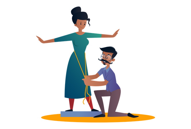 Indian Tailor holding a measurement tape and measuring lady for dress Illustration