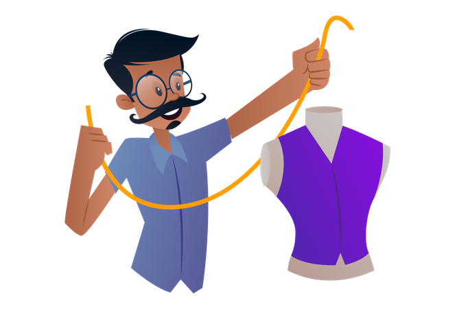 Indian Tailor measuring tape and making a dress Illustration