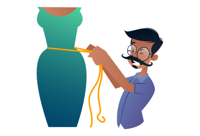 Indian Tailor measuring woman's waist for dress Illustration