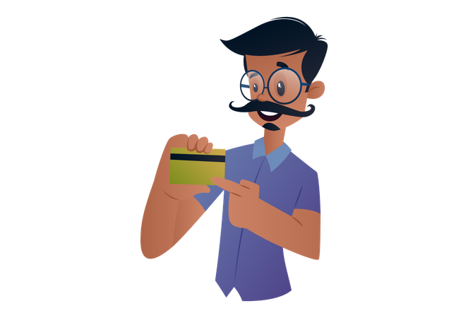 Indian Tailor showing card for online payment Illustration
