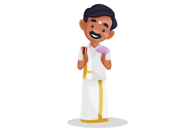 Indian tamil man holding money and bank card in his hand Illustration