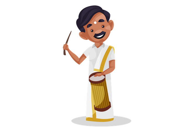 Indian tamil man playing drum with stick Illustration
