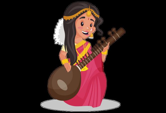 Indian tamil woman playing veena Illustration