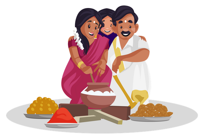 Indian tamilian family making sweets Illustration
