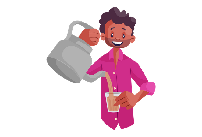 Indian Tea Seller Illustration