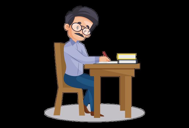 Indian Teacher checking exam paper seating on desk Illustration