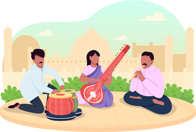 Indian traditional music Illustration