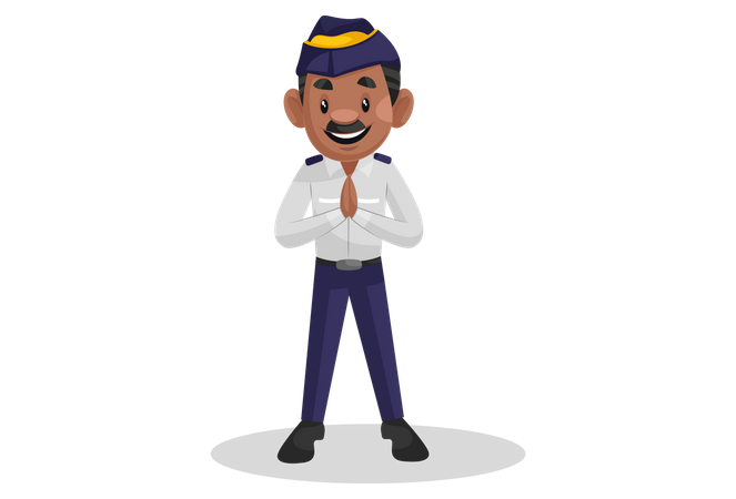 Indian traffic police officer standing in welcome pose Illustration
