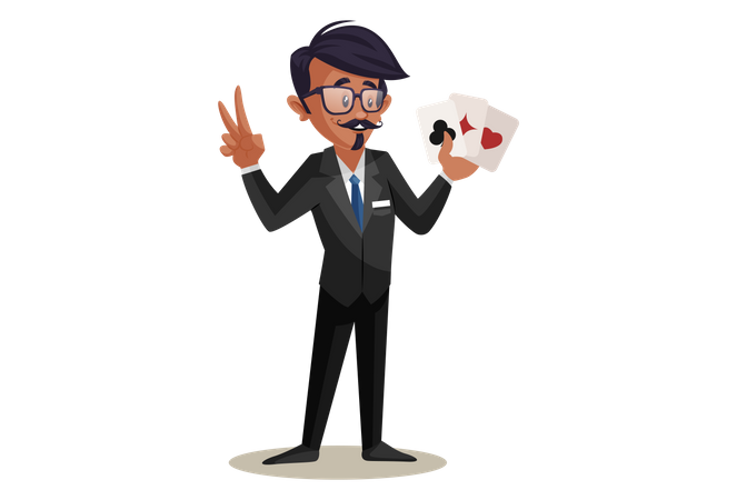 Indian Train Conductor playing Cards Illustration